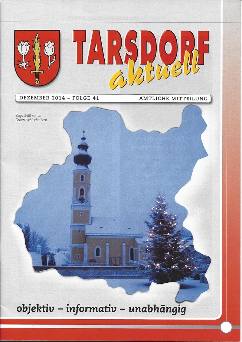 Titelblatt der Dezemberausgabe von Tarsdorf aktuell vom Dezember 2014