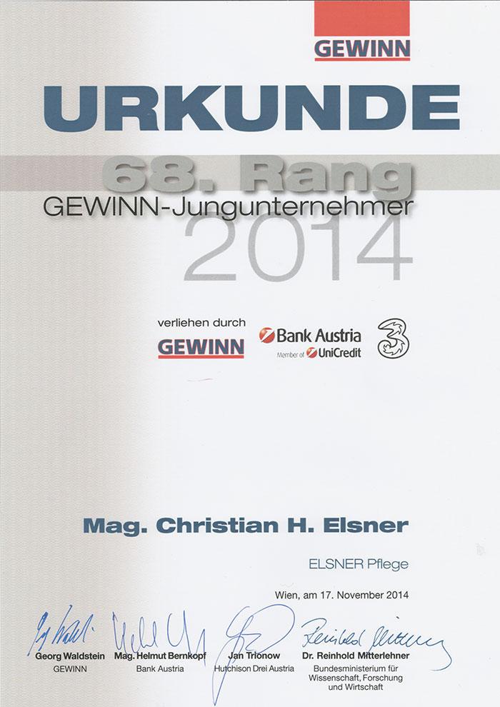 Urkunde Gewinn-Jungunternehmer 2014