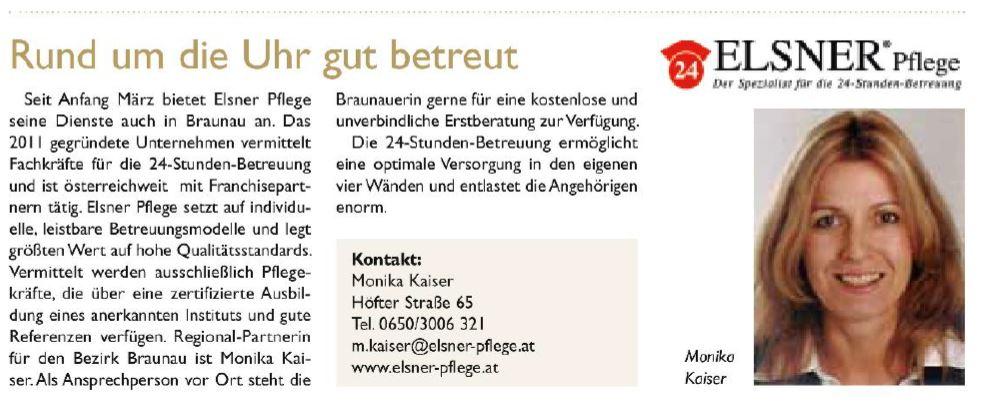 Artikel in den Braunauer Stadtnachrichten über Elsner Pflege