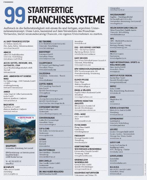 Liste in Cash-Flowüber 99 startfertige Franchise-Systeme mit Elsner Pflege