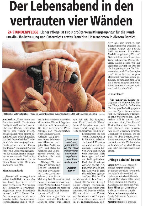 Artikel in der Tiroler Wirtschaft über Elsner 24-Stunden-Pflege