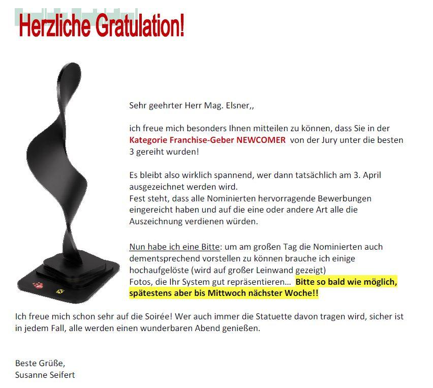 Bescheid über eine Top 3 Platzierung beim Franchise-Awarad des österreichischen Franchise-Verband