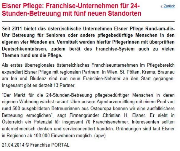 Artikel im Franchise Portal über Elsner 24-Stunden-Pflege mit fünf neuen Standorten.