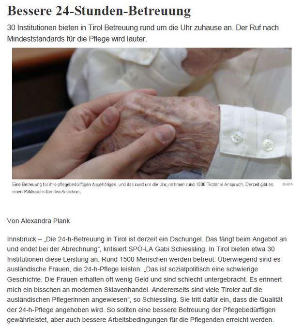 Artikel in der Tiroler Tageszeitung zur besseren 24-Stunden-Betreuung