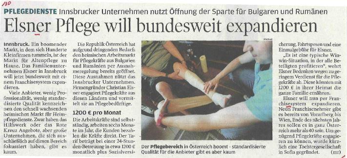 Artikel im Wirtschaftsblatt zur Expansion von Elsner Pflege.