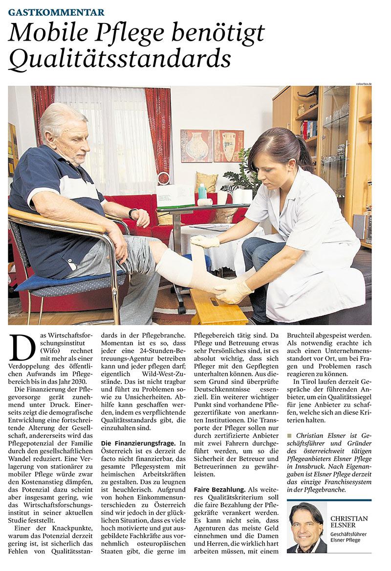 Gastkommentar im Wirtschaftsblatt über mobile Pflege, die Qualitätsstandards benötigt.
