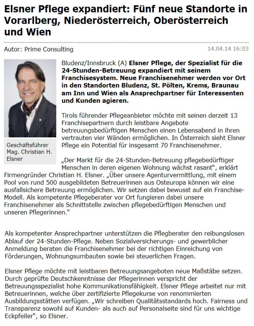 Artikel in Wirtschafts-Zeit über 5 neue Standorte von Elsner Pflege in Vorarlberg, Niederösterreich, Oberösterreich und Wien.